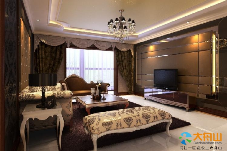 家装设计效果图 特显大客厅简单欧式电视背景墙装修 电视背景